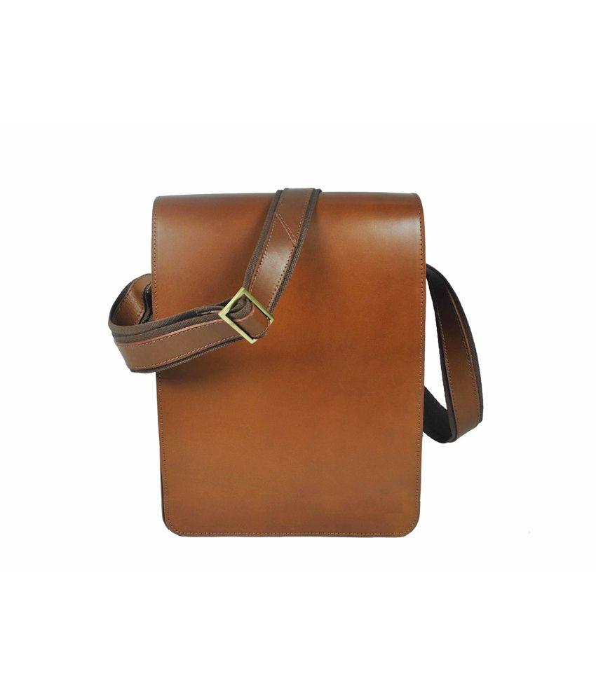 Delphi Leather Brown Gerakas Leather Messenger Bag