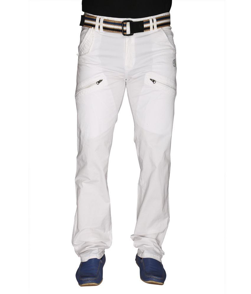 Ld Active White Cotton Casual Cargo