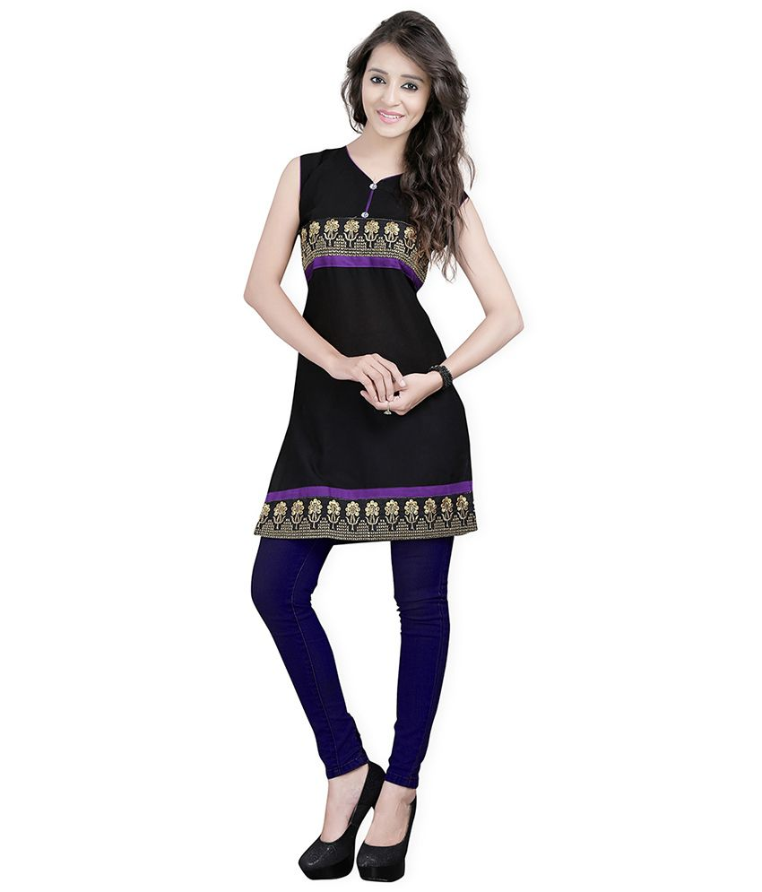 Lookslady Black Embroidered Cotton Kurti
