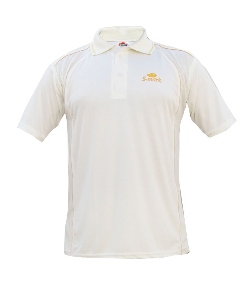 S-Mark White Half Sleeves Sweat Control Cricket T-Shirt
