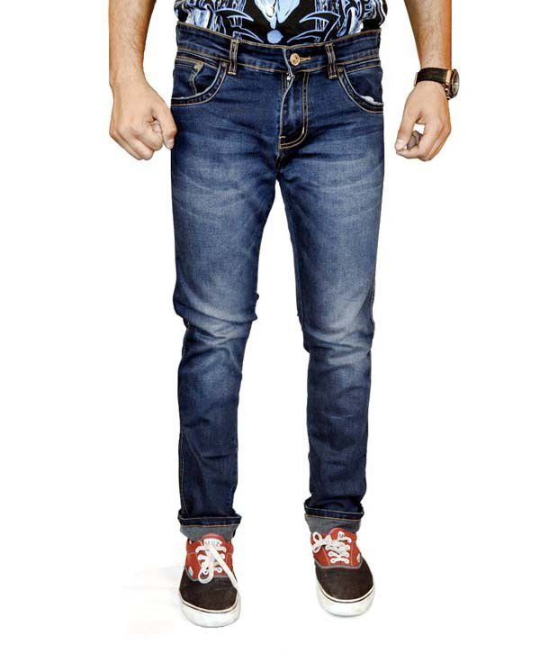 Wrangler Blue Cotton Faded Jeans
