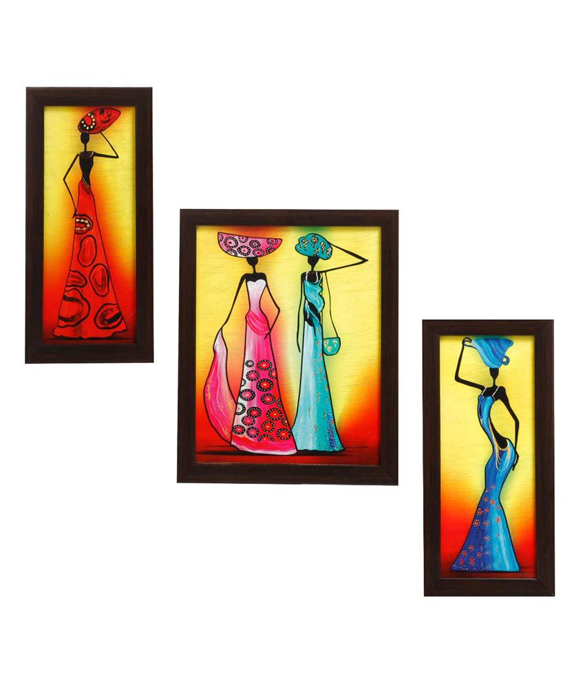 Indianara 3 Pc Set Of Framed Wall Hanging Pictures (small)