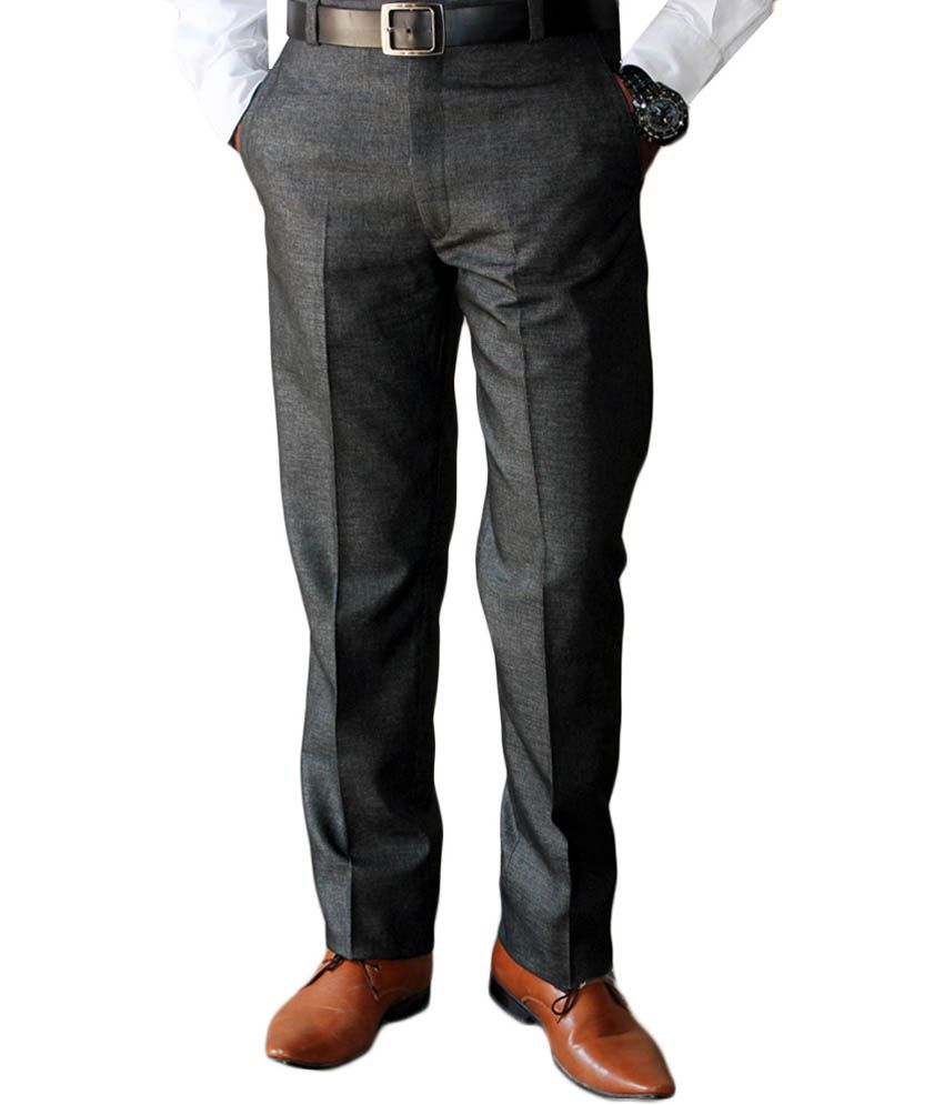 Sense Gray Cotton Blend Comfort Fit Formal Trouser