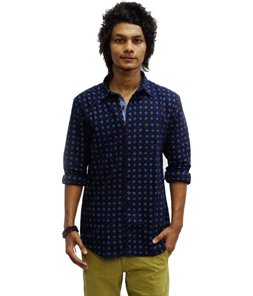 9297921a Zara Man Dark Blue Printed Cotton Full Sleeve Casual Shirt - Buy Zara Man  Dark Blue Printed Cotton Full Sleeve Casual Shirt Online at Best Prices in  India ...