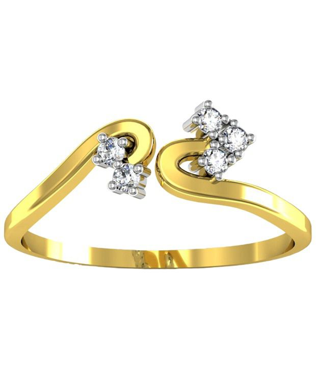 Avsar Beautiful 18kt Gold  amp; Real Diamond Chitra Ring For Women