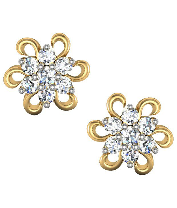 Avsar Impeccable 18kt Gold  amp; Real Diamond Stud Earrings