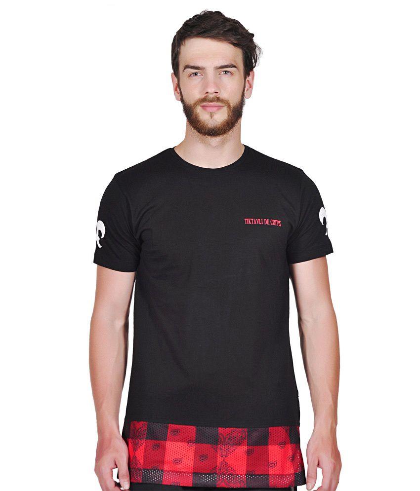 Tiktauli de. Corps. Blended Black Suahm Paisley Extra Long Line T-Shirt