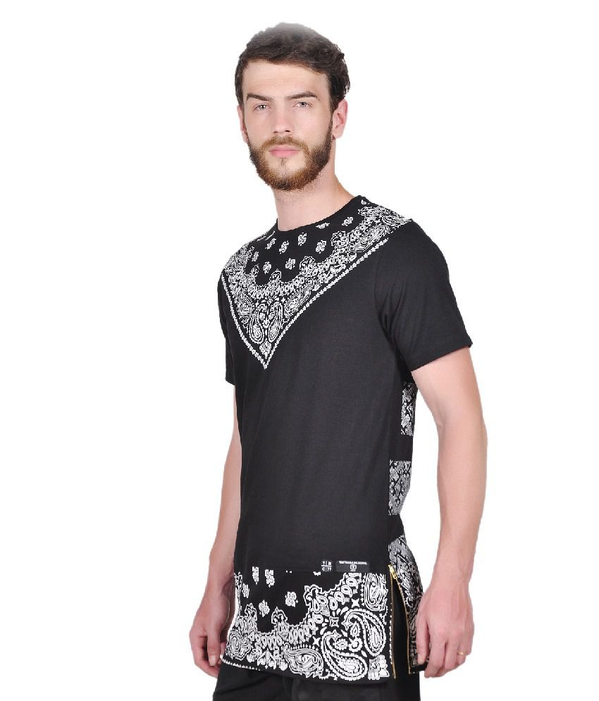 Black t shirt buy online - Cotton Black Love Dose Paisley T Shirt