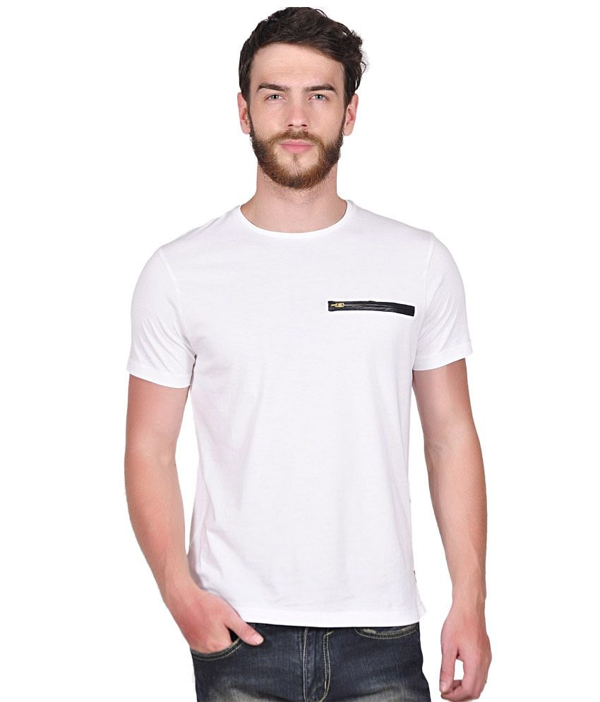 Tiktauli de. Corps. Cotton White Bacton Zip T-Shirt