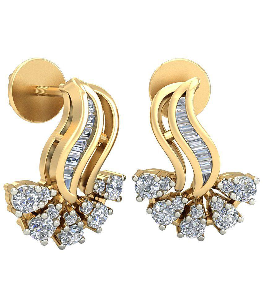 The Dorrie Diamond Earrings 14KT Gold WearYourShine by PC Jeweller