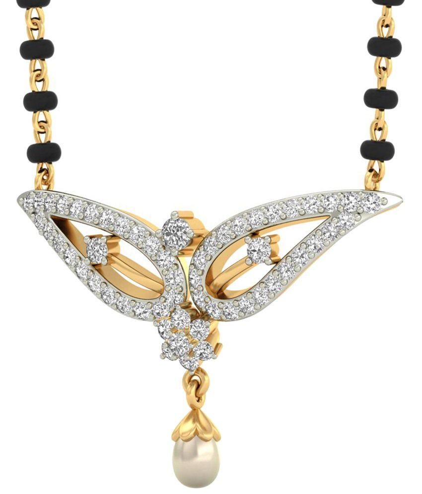 The Zain Diamond & Pearl Mangalsutra 14KT Gold WearYourShine by PC Jeweller