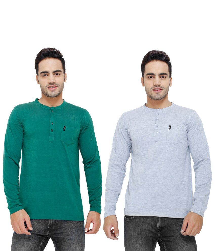 Eprilla Green And Grey Cotton T-shirts (Pack Of 2)