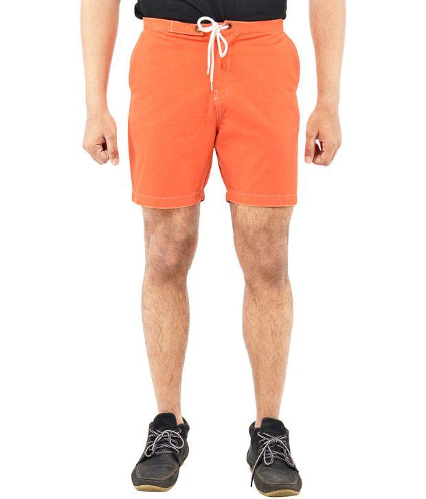 Blue Wave - Orange Cotton Solid Shorts for Men (Flash Deal)