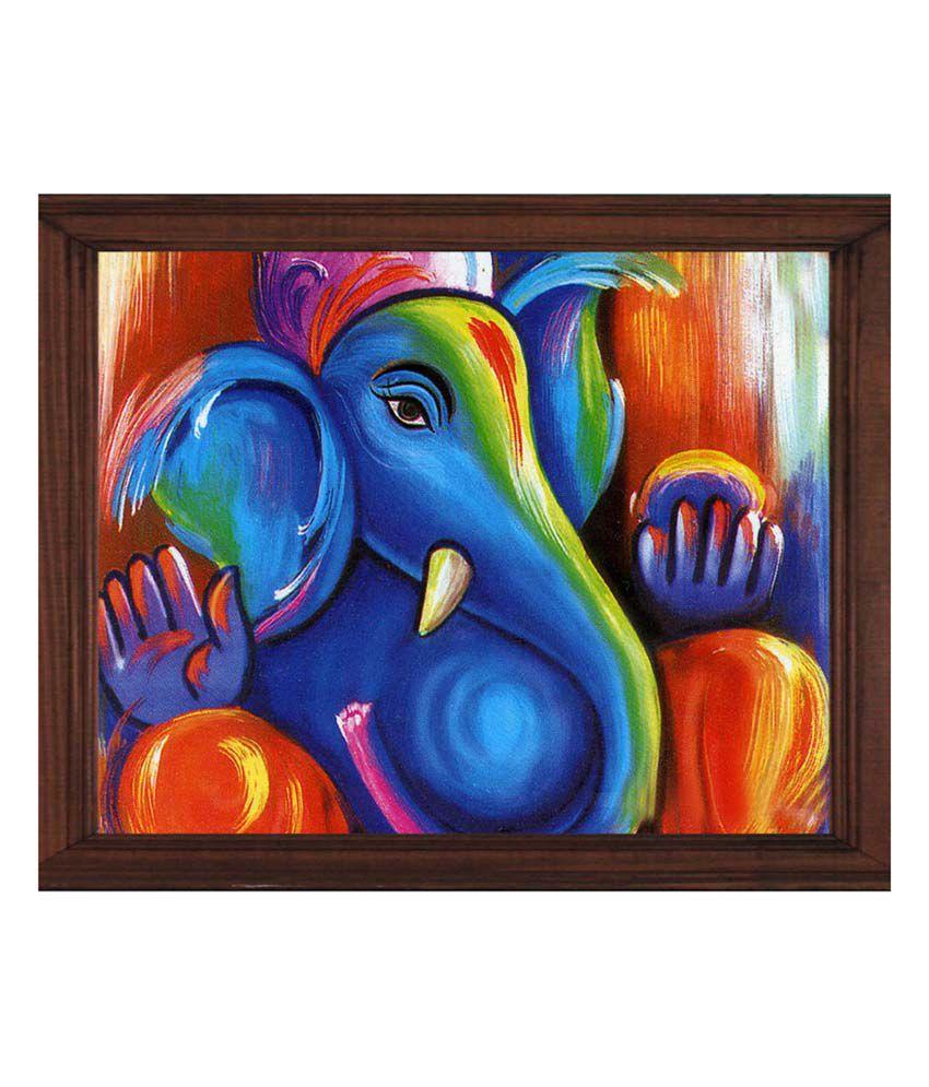 Sleepnature Textured Canvas Ganpati Blue Art Portrait Painting