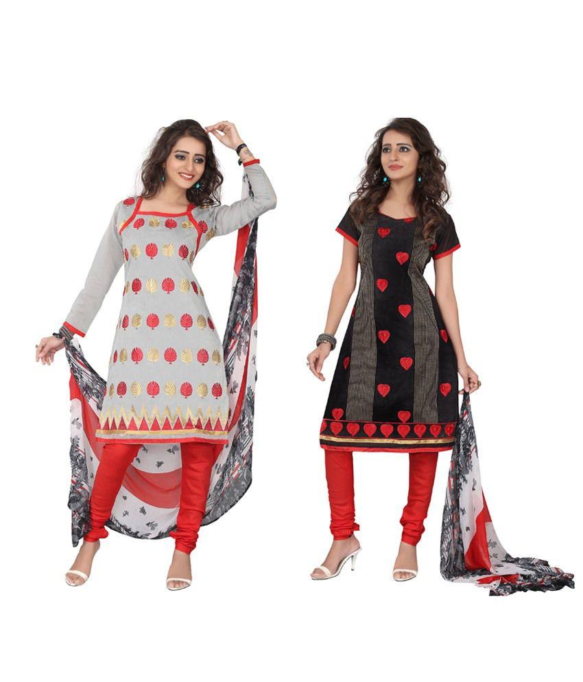 VimushFashion Black Chanderi Unstitched Dress Material
