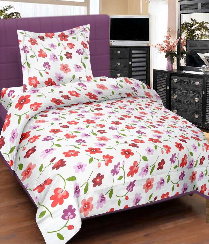 Bed sheets with price - Cortina Single Bed Sheet With 1 Pillow Cover Pink