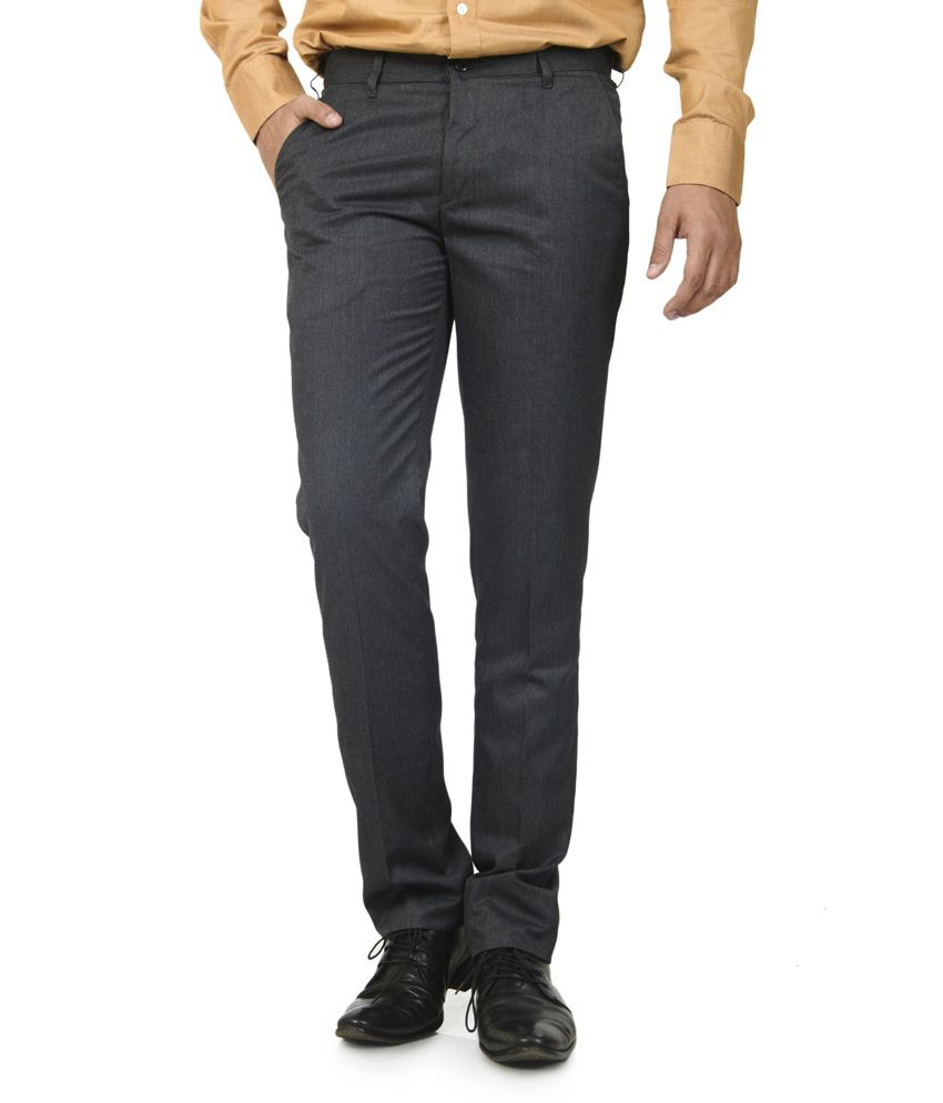 Defossile Poly Viscose Black Trousers