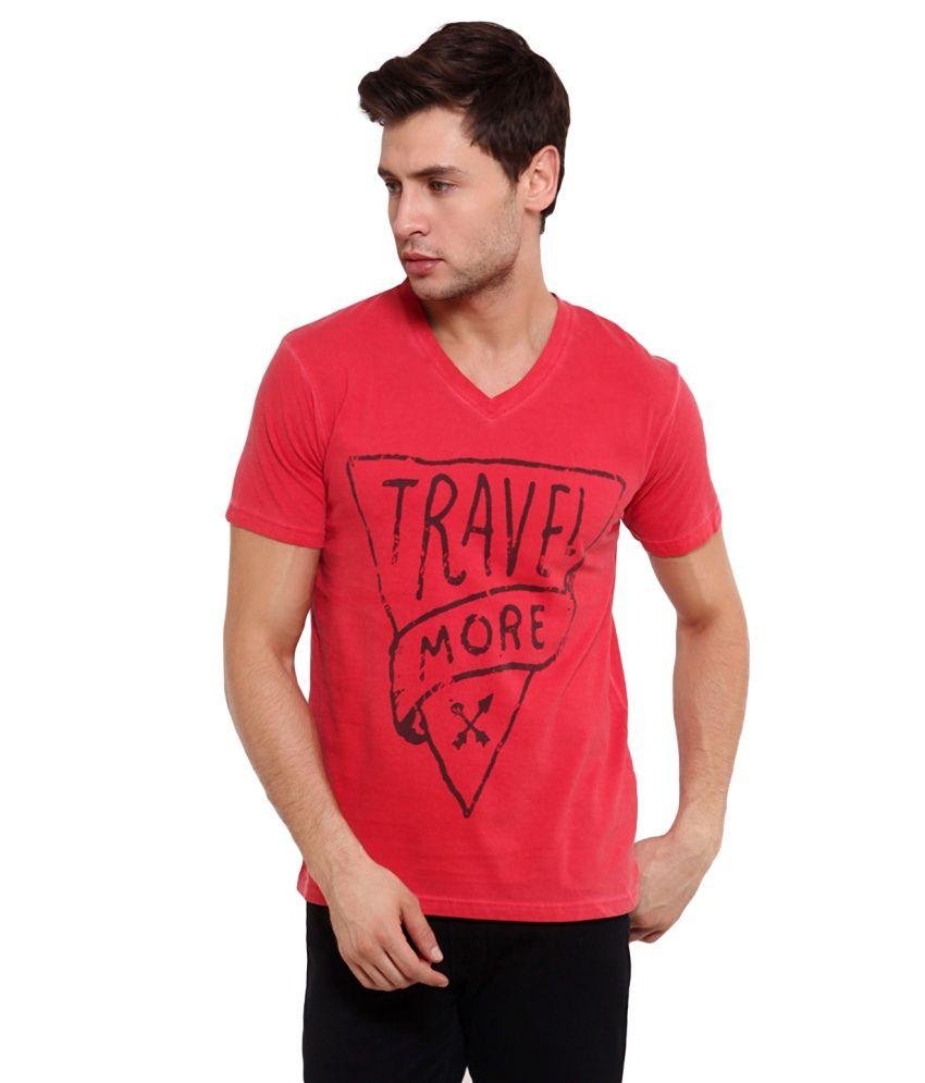 Elaborado Red Cotton Printed V-Neck T Shirt