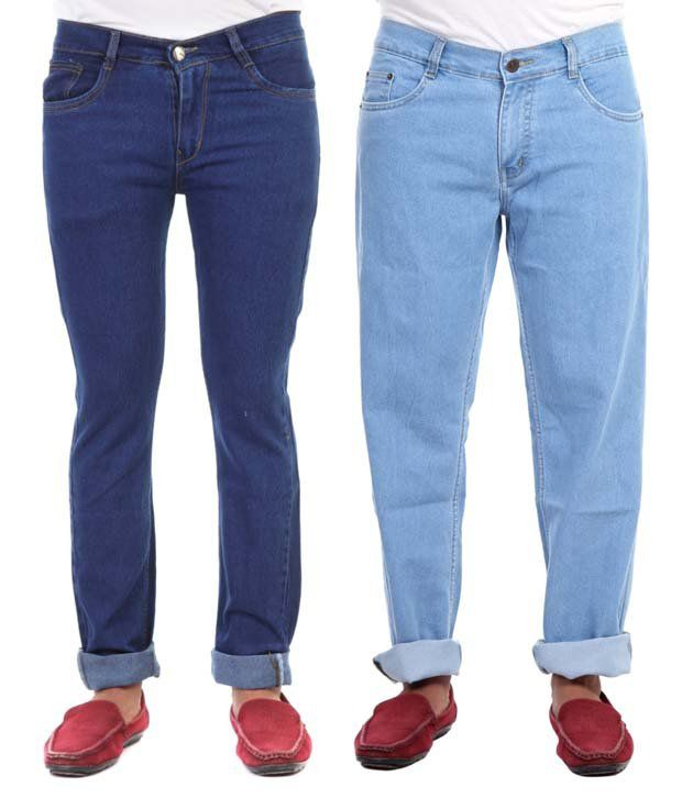 Haltung Cotton Blend Regular Fit Blue Denim Jeans - Pack of 2