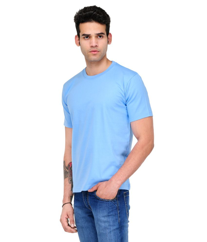 Scott Star11 Blue Cotton Blend Round Neck T Shirt