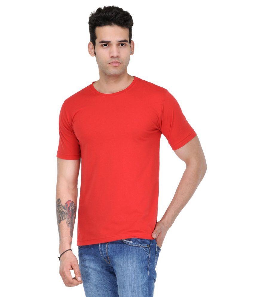 Scott Star11 Red Cotton Blend Round Neck T Shirt