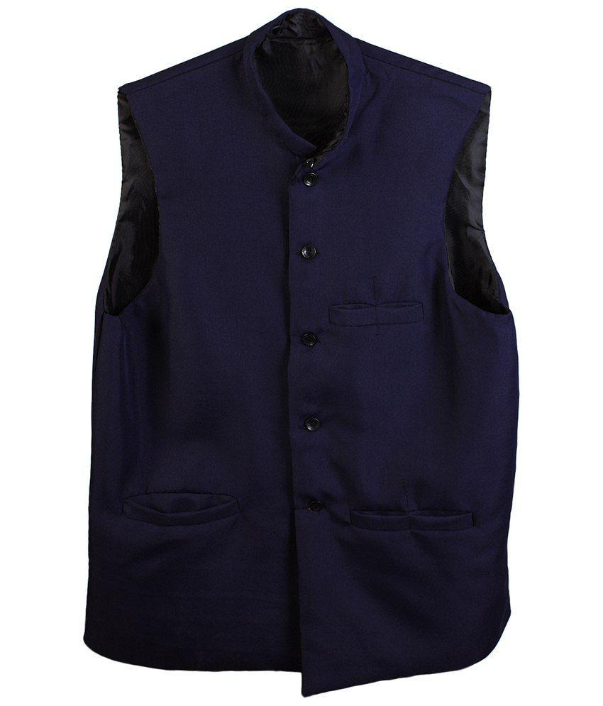 Selfieseven Blue Semi Formal Waistcoat