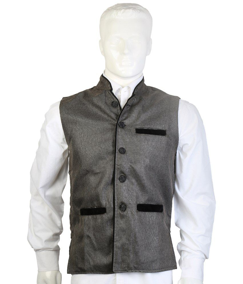 Selfieseven Gray Party Wear Waistcoat
