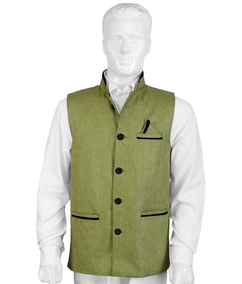 Selfieseven Green & Black Party Wear Waistcoat