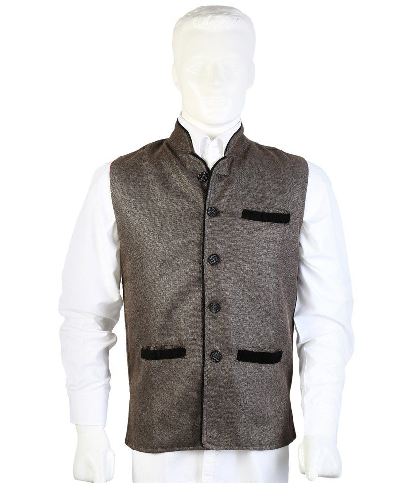 Selfieseven Light Gray Party Wear Waistcoat