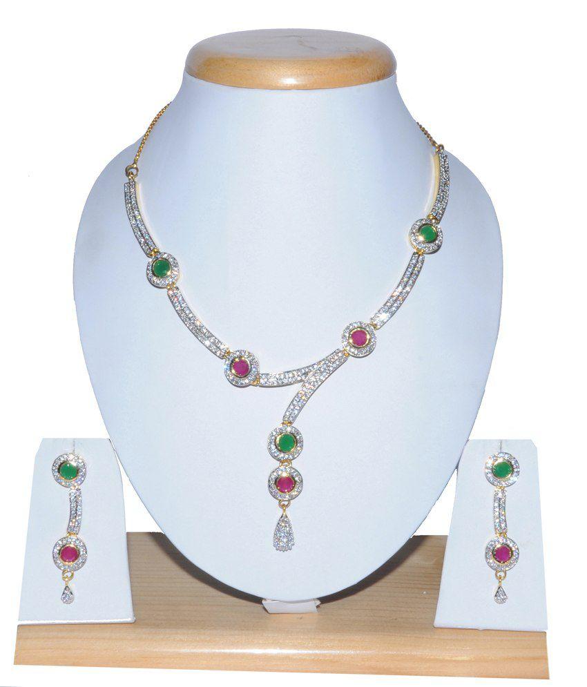 Sri Balaji Ornaments Multicolour Stainless Steel American Diamonds Necklace Set
