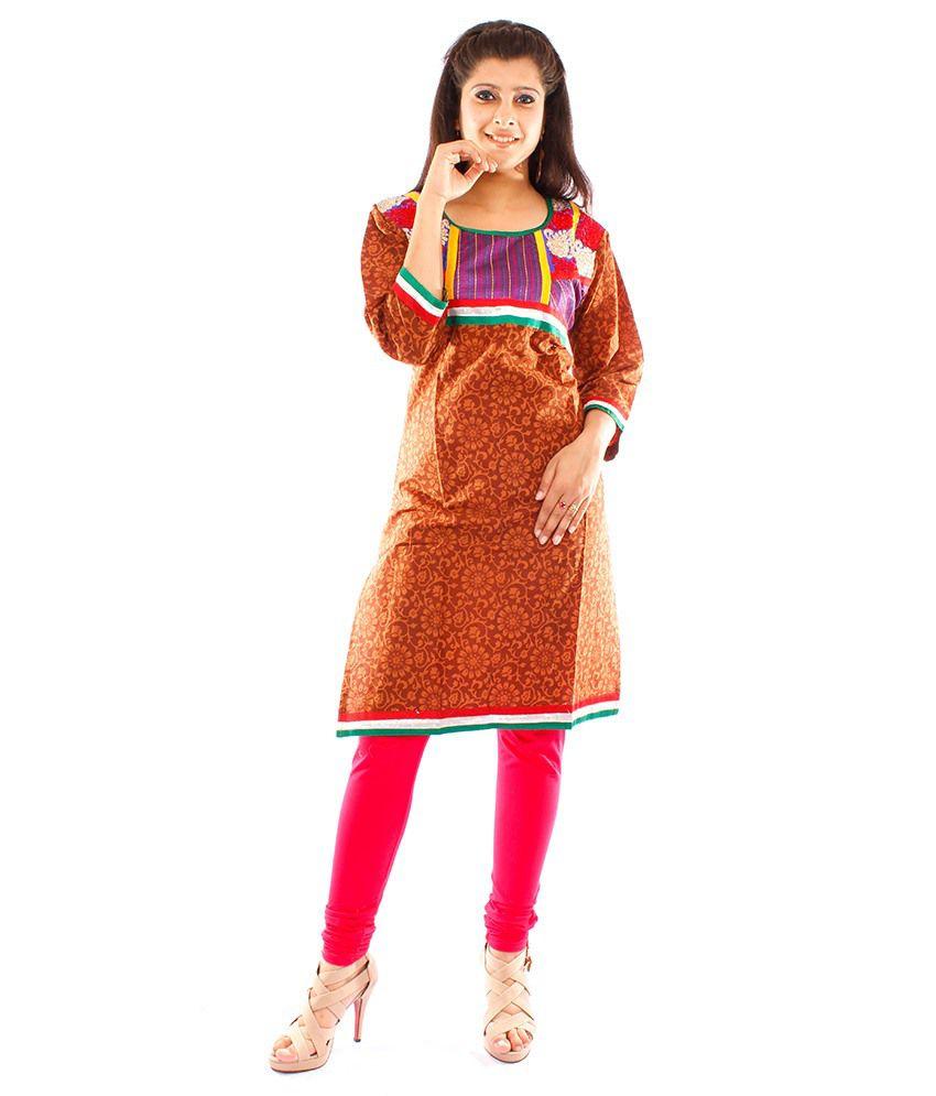 Veera Designers Brown Cotton Kurti