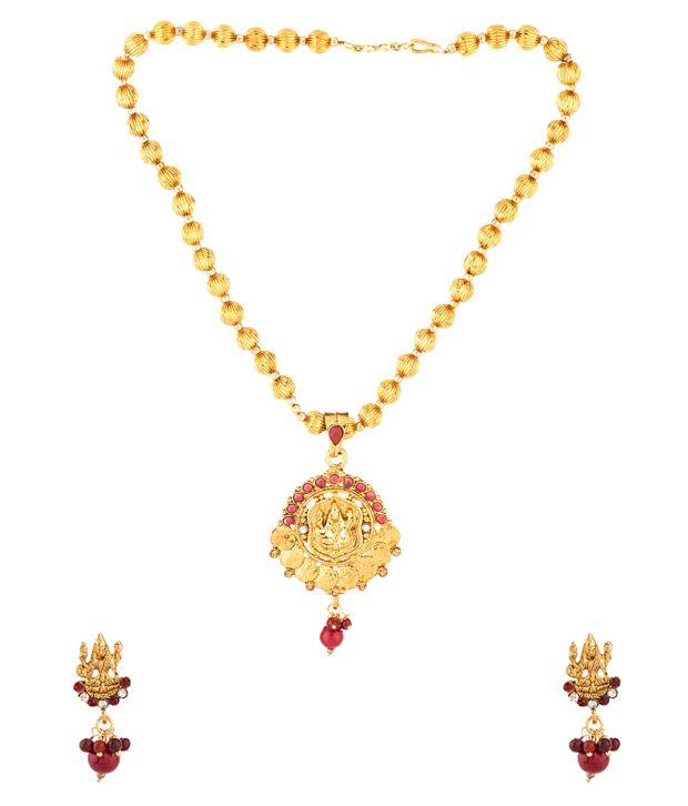 Voylla Antique Red Contemporary Necklace Set