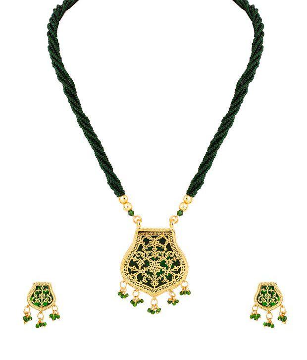 Voylla Floral Green Contemporary Necklace Set
