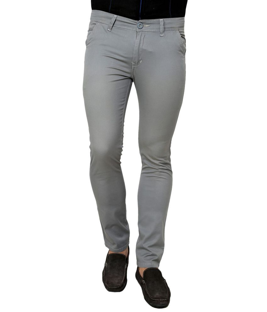 Zaab Blue Cotton Slim Fit Casual Trouser
