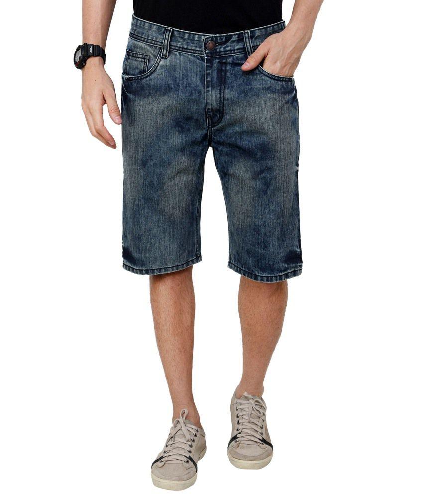 Zaab Cotton Blue Denim Shorts