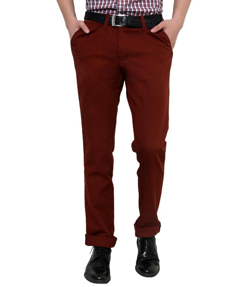 Zaab GoldenRod Cotton Slim Fit Casual Trouser