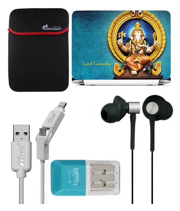 Anwesha's Laptop Sleeve With Lightning & Micro Usb Cable Ubon Ub-85 Earphone Card Reader And Laptop Skin - Lord Ganesh Blue