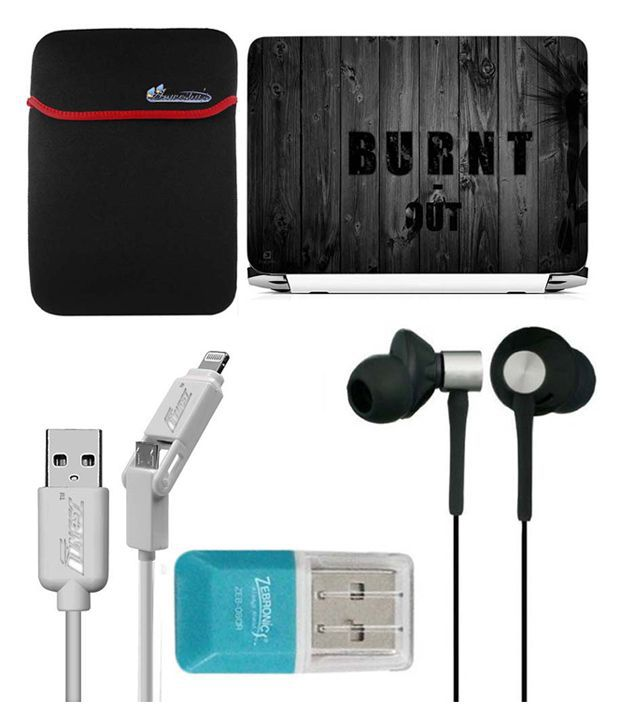 Anwesha's Laptop Sleeve With Lightning & Micro Usb Cable Ubon Ub-85 Earphone Card Reader And Laptop Skin - Burnt Out