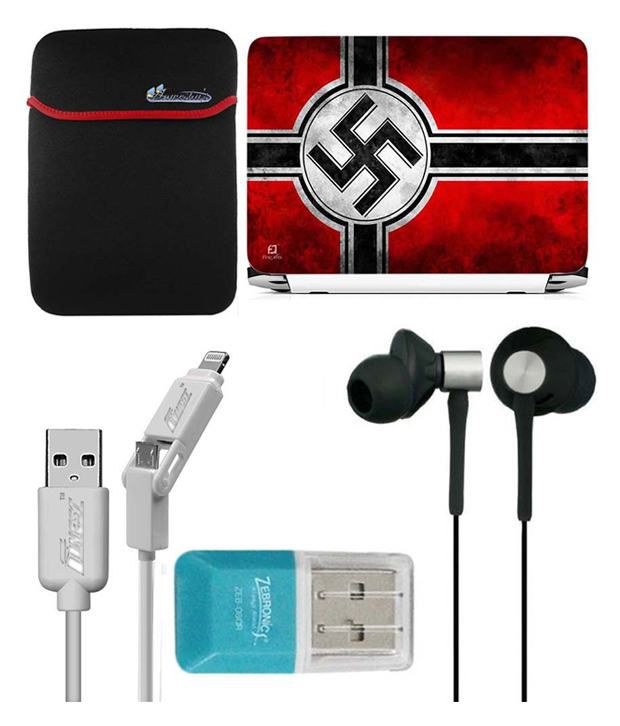 Anwesha's Laptop Sleeve With Lightning & Micro Usb Cable Ubon Ub-85 Earphone Card Reader And Laptop Skin - Reverse Swastik Flag