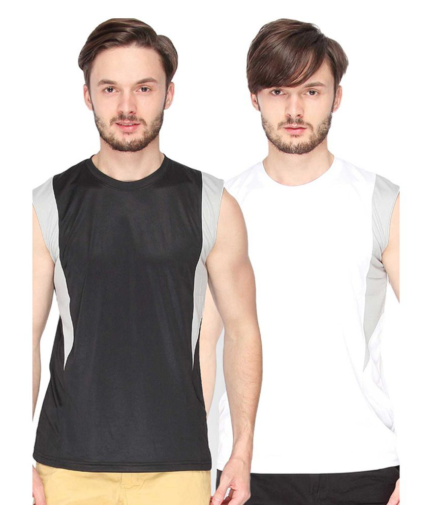 Campus Sutra Black & White Sleeveless Round Neck Jersey (Combo of 2)