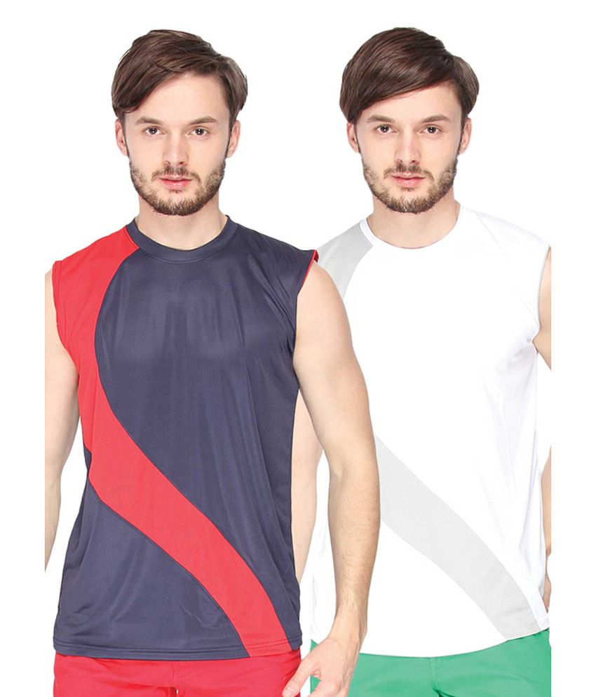 Campus Sutra Blue & White Sleeveless Round Neck Jersey (Combo of 2)