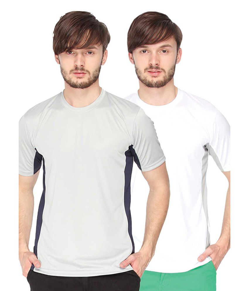 Campus Sutra Grey & White Round Neck Jersey (Combo of 2)