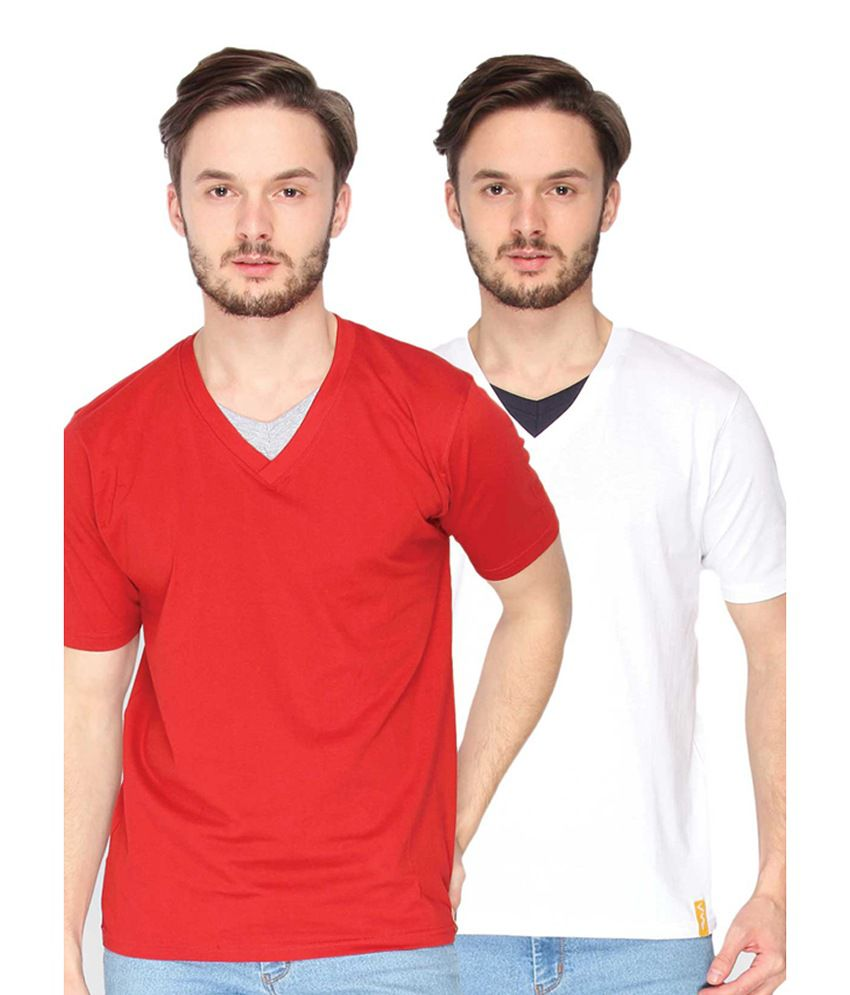 Campus Sutra Red & White V-Neck T-Shirts (Combo Of 2)