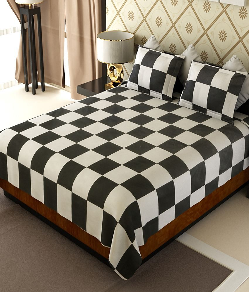 Home Candy Elegant Squares Cotton Double Bed Sheet with 2 Pillow Covers
