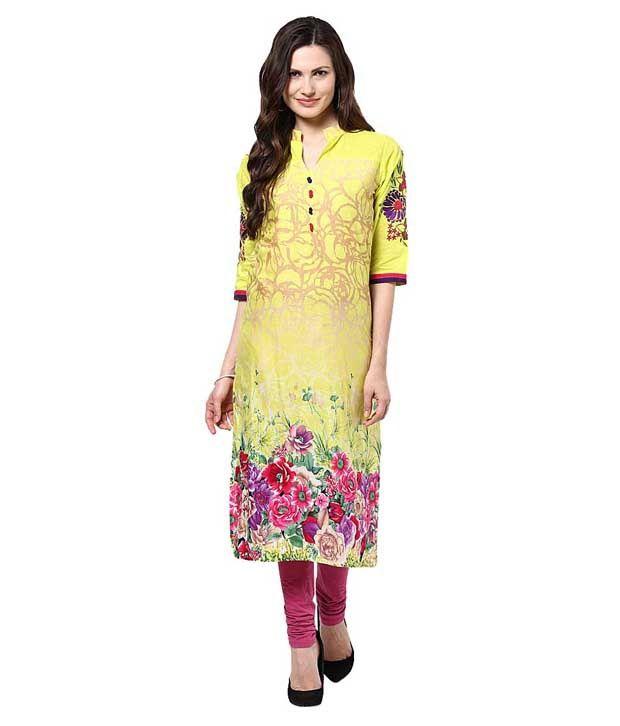 Shree Yellow Embroidered Cotton Kurti