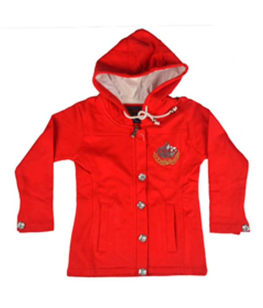 Kothari Red Full Sleeves Hooded Front Button
