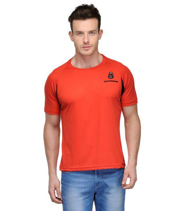 Scott Crackle Sulphur Dryfit Red Polyester Henley Neck Men T Shirt