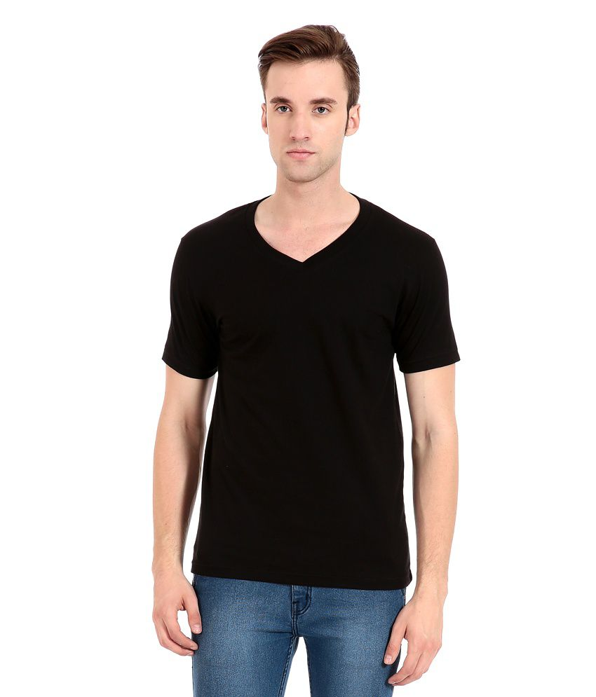 Zeug Fashion Black Cotton V-neck T-shirt