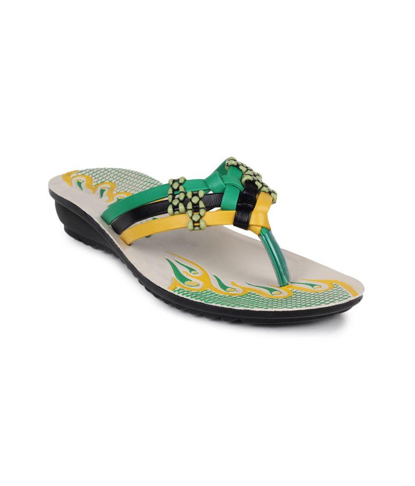 11e Green Low Heel Slippers