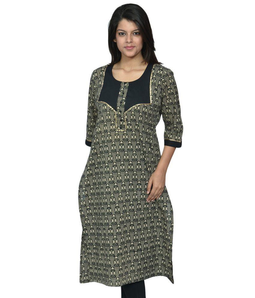 India Craft And Fashions Casual Wear Black Cotton Kurti